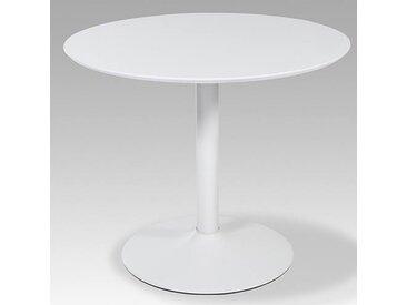 Esstisch rund in Hochglanzweiß, Gestell Weiß, Durchmesser: 90 cm, Höhe: 76 cm
