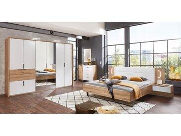 Schlafzimmer 4-tlg. Artisan-Eiche-Nachbildung und weiß, Drehtürenschrank, Bettanlage inkl. Nachtschränke