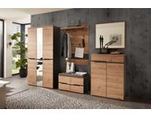 Garderobe 5-tlg. in Artisan Eiche Nachbildung mit Absetzungen in graphit mit Garderobenschrank, Paneel, Bank, Spiegel und Schuhschrank