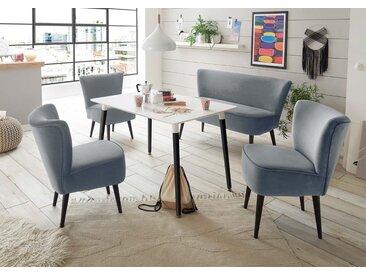 Diningbank in grauem samtähnlichen Stoff bezogen, Polster im Sitz bestehend aus einer Nosagunterfederung, Maße: B/H/T ca. 179/83/75 cm
