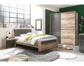 Jugendzimmer 3-tlg. in Holz-Optik und Anthrazit, Kleiderschrank, Bett mit Liegefläche 140x200 cm und Nachtschrank