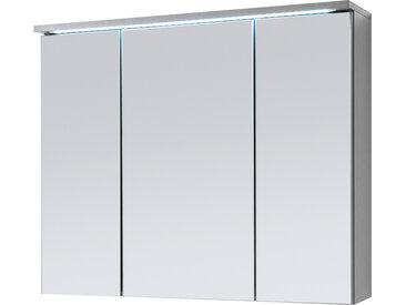 3-trg. Spiegelschrank in Titan Dekor und Weiß mit integrierter LED-Beleuchtung, Maße: B/H/T ca. 80/68/22,5 cm