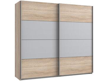 Schwebetürenschrank 2-trg. in Eiche Sägerau NB mit Absetzungen in Light grey, 2 Einlegeböden und 2 Kleiderstangen, Maße: B/H/T ca. 225/210/65 cm