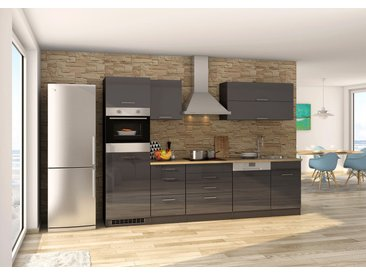 Küchenblock, graphit Hochglanz, Stellmaß: ca. 300 cm, inkl. Elektrogeräten