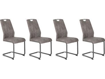 4er-Set Esszimmerstühle in grauem Mikrofasterstoff in Vitage-Optik bezogen, Gestell Metall grau gepulvert, Maße: B/H/T ca. 44/98/61 cm