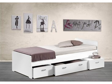 Kojenbett in Weiß, 3 Schubladen, Maße: B/H/T ca. 95/65,5/204 cm, Liegefläche: 90 x 200 cm