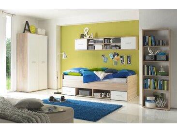 4-tlg. Jugendzimmer in Eiche Sonoma-Nachbildung mit Absetzungen in weiß, Kleiderschrank, Kojenbett, Hänge- und Standregal, Liegefläche ca.90 x 200 cm