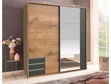 Schwebetürenschrank 2-trg. in Plankeneiche NB und graphit mit 4 Einlegeböden, 1 Kleiderstange, 3 Schubladen und Spiegel, Maße: B/H/T ca. 179/198/64 cm