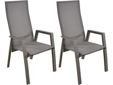 Gartenstühle mit Textylenbezug in grau und einem Gestell aus Aluminium in grau, Rückenlehne verstellbar, 2er-Set, Maße: B/H/T ca. 59,5/112/70 cm
