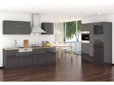 Küchenblock, graphit Hochglanz, Stellmaß: ca. 390 cm, inkl. Elektrogeräten