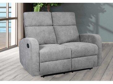 Sofa in hellgrauer Microfaser bezogen mit Relaxfunktion,, 2-Sitzer, Maße: B/H/T ca. 130/102/88 cm