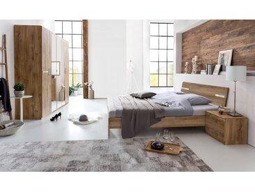 Schlafzimmer 4-tlg. Plankeneiche-Nachbildung mit Chrom-Aufleistungen, Schrank B: 225 cm, Futonbett 180 x 200 cm, 2 Nachtschränke B: 52 cm
