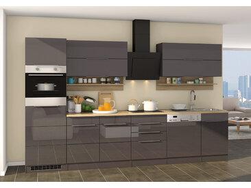 Küchenblock, grau Hochglanz, Stellmaß: ca. 330 cm, mit Elektrogeräten inkl. Geschirrspüler