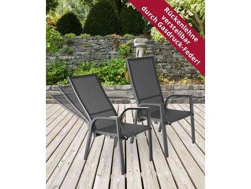 2 Gartenstühle mit Textylenbezug in anthrazit und einem Gestell aus Aluminium in anthrazit, Rückenlehne verstellbar Maße: B/H/T ca. 58,5/109/70 cm