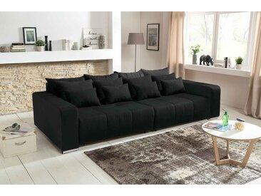 Big Sofa in schwarz mit einer Polyätherschaum-Polsterung, Schlaffunktion, 4 große, 4 mittlere und 4 kleine Kissen,  B/H/T ca. 294/88/146 cm