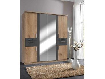 Drehtürenschrank in Plankeneiche-NB mit Abs. in graphit, 4 Schubkästen und 2 Spiegeltüren, Maße: B/H/T ca. 180/198/58 cm