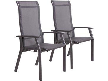 2 Gartenstühle mit Textylenbezug in anthrazit und einem Gestell aus Aluminium in anthrazit, Rückenlehne verstellbar Maße: B/H/T ca. 58,5/112,5/65 cm
