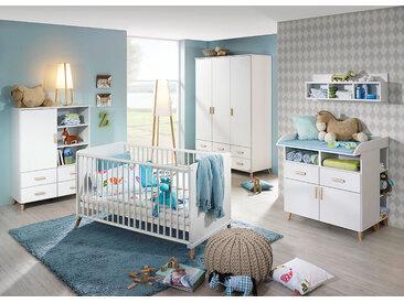 4-tlg. Babyzimmer in alpinweiß mit Abs. in Esche Coimbra massiv, Drehtürenschrank B: ca. 137 cm, Sprossenbett 70 x 140 cm, Wickelkommode B: ca. 93 cm