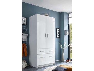 Drehtürenschrank mit Korpus in weiß und Fronten in weiß Hochglanz, 2 Türen und 4 Schubladen, Maße: B/H/T ca. 90/195/57 cm
