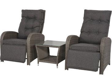 Premium-Lounge-Set 3-tlg. aus Polyrattan-Doppelgeflecht in grau, Kissen grau, Alu-Gestell, 2 Loungestühle, verstellbar und Beistelltisch