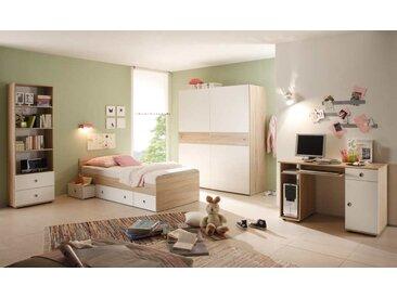 Jugendzimmer in Eiche Sonoma NB und Abs. in weiß, Kojenbett (ca. 90x200cm), Schreibtisch mit Tastaturauszug, Schwebetürenschrank (B:ca. 170cm)