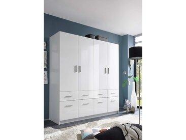 Drehtürenschrank mit Korpus in weiß und Fronten in weiß Hochglanz, 4 Türen und 8 Schubladen, Maße: B/H/T ca. 180/195/57 cm