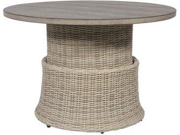 Loungetisch rund mit Polyrattangeflecht in beige, mit Cherry Board Tischplatte, höhenverstellbar, Maße: B/H/T ca. 100/40-65/100 cm