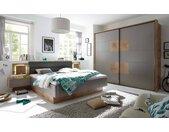 4-tlg. Schlafzimmer in Wildeiche-Nachbildung mit Absetzungen in grau, Bettanlage mit 2 Nachtkonsolen inkl. LED, Schwebetürenschrank