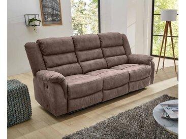 3er Sofa in grau-braune Stoff bezogen mit Liegefunktion, Maße: B/H/T ca. 220/103/90 cm