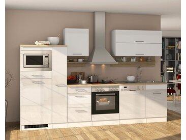 Küchenblock, weiß Hochglanz, Stellmaß: ca. 310 cm, mit Elektrogeräten inkl. Geschirrspüler und Mikrowelle