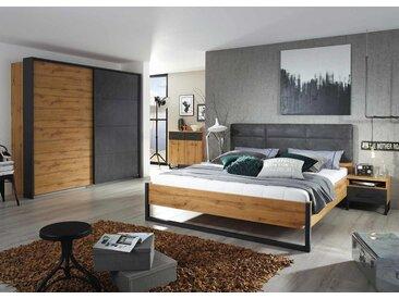 Schlafzimmer 4-tlg. in Eiche Wotan-Dekor und anthrazit, Schwebetürenschrank B: ca. 226 cm, Nachttische B: ca. 47 cm, Bett Liegefläche 180 x 200 cm