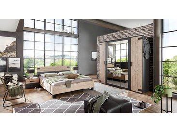 Schlafzimmer 4-tlg. in Silber Eiche-Nachbildung, Abs. in graphit, bestehend aus Drehtürenschrank B: 225 cm, Bett 180x200 cm, 2 Nachtschränken B: 52 cm