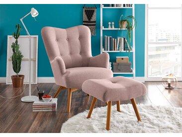 Sessel mit Hocker in rosafarbenem Webstoff bezogen mit Schaumstoffpolsterung, Füße aus Massivholz, Maße: B/H/T ca. 77/101/100 cm