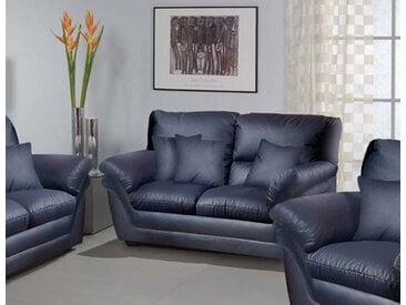 2-Sitzer Sofa in Kunstleder schwarz mit einer Nosagfederung, Maße: B/H/T ca. 160/92/89 cm