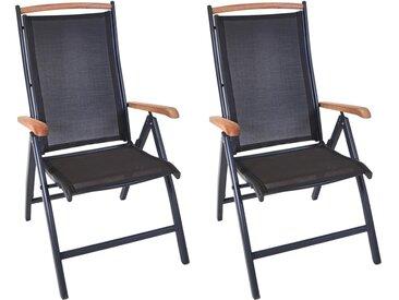 Gartenstühle aus Aluminium mit Textylenbezug und Absetzungen in Teakholz, 2er-Set, klappbar und Rückenlehne verstellbar, Maße: B/H/T ca. 60/108/74 cm