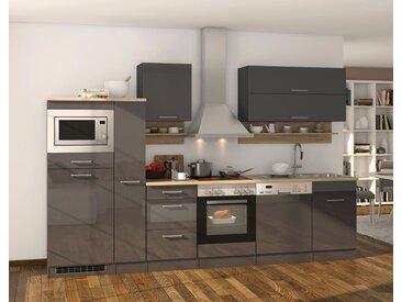 Küchenblock, grau Hochglanz, Stellmaß: ca. 310 cm, mit Elektrogeräten inkl. Geschirrspüler und Mikrowelle