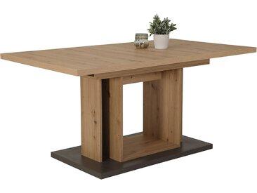 Säulentisch in Artisan-Eiche-Nachbildung mit Absetzungen in Anthrazit, Einlegeplatte innenliegend, Maße:  B/H/T ca. 160-200/76/90 cm