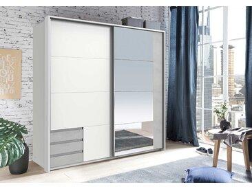 Schwebetürenschrank 2-trg. in weiß und Beton-Dekor mit 4 Einlegeböden, 1 Kleiderstange, 3 Schubladen und Spiegel, Maße: B/H/T ca. 179/198/64 cm