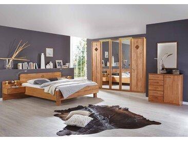 Schlafzimmer in Erle-Nachtbildung, Abs. tabakfarben, Drehtürenschrank B: ca. 250 cm, Bett 180 x 200 cm, 2 Nachtkonsolen B: ca. 60 cm