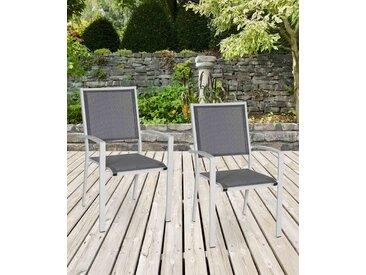 Gartenstühle mit Textylenbezug in anthrazit und einem Gestell aus Aluminium in hellgrau, 2er-Set, Maße: B/H/T ca. 55,5/94/64,5 cm