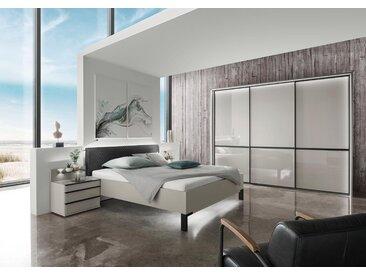 Schlafzimmer in Kieselgrau mit Glasfronten, Griffe und Leisten in schwarz, Schwebetürenschrank, Bett mit Liegefläche 180x200 cm, 2 Nachtschränke