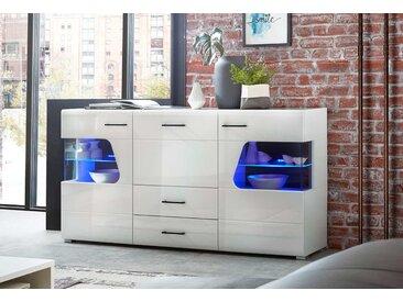 Sideboard in weiß Hochglanz, sichbare Rückwände schwarz, 3 Türen, 2 Schubladen, inkl. LED-Beleuchtung, Maße: B/H/T ca. 170/94/42 cm