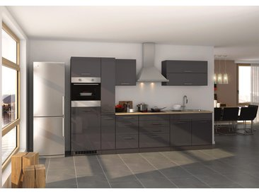 Küchenblock, graphit Hochglanz, Stellmaß: ca. 320 cm, inkl. Elektrogeräten