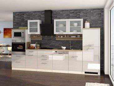Küchenblock, weiß Hochglanz, Stellmaß: ca. 340 cm, mit Elektrogeräten inkl. Geschirrspüler und Mikrowelle