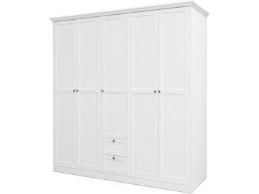Kleiderschrank in weiß mit 5 Rahmentüren, 2 Schubkästen, 2 Kleiderstangen, 7 Einlegeböden, Griff-Knöpfe in Antik-Optik, Maße: B/H/T ca. 190/200/67 cm