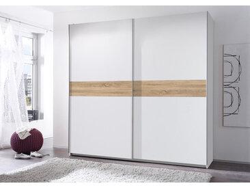 Schwebetürenschrank 2-trg. in weiß mit Abs. in Eiche Sonoma-Nachbilung, 2 Einlegeböden und 2 Kleiderstangen, Maße: B/H/T ca. 215/210/58 cm