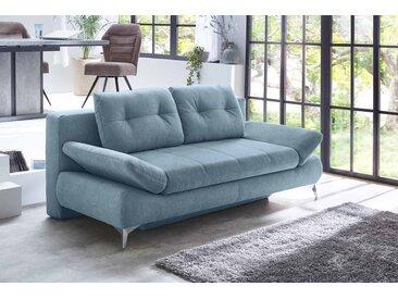 Schlafsofa in blauem Microfaser bezogen, Schaumpolsterung mit Nosagfedern, Gästebett, Bettkasten, 2 Kissen, Maße: B/H/T ca. 206/90/104 cm