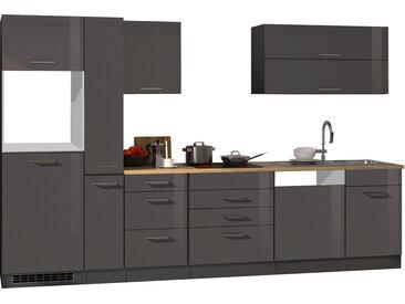 Küchenblock, graphit Hochglanz, Stellmaß: ca. 330 cm, ohne Elektrogeräte