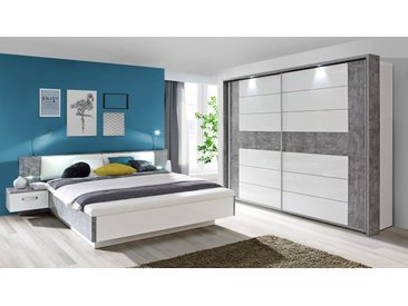 Schlafzimmer in Betonoptik mit Abs. in weiss Hochglanz, Bett mit Nachtkommoden, Liegefläche: 180 x 200 cm, B: 285 cm, Schwebetürenschrank B: 269 cm