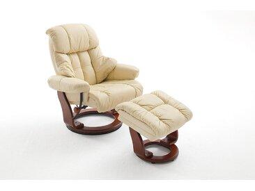 Relaxsessel in cremefarbenden Echtleder inkl. Hocker, Gestell walnussfarbig, Maße: B/H/T ca. 90/104-89/91-122 cm
